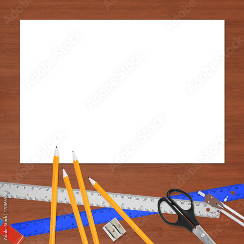 canvas print picture Lie on wooden surface office objects