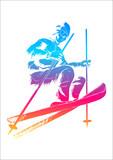 Vector illustration of a skier