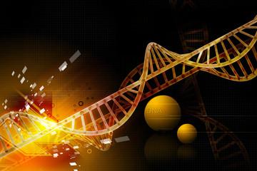 Digital illustration of 3d dna with color background