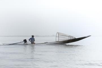 Myanmar, Shan state, Inle lake Intha fisherman on boat