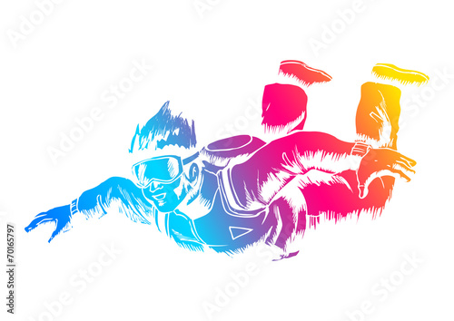 Fototapeta Sketch illustration of a sky diver