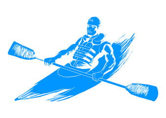 Sketch illustration of a man kayaking