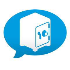 Etiqueta tipo app azul comentario simbolo caja fuerte
