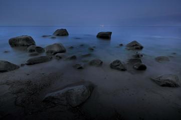 Krajobraz Morski, morze, plaża nocą