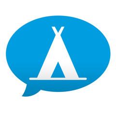 Etiqueta tipo app azul comentario simbolo camping