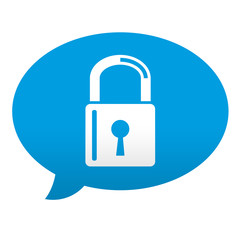 Etiqueta tipo app azul comentario simbolo candado