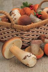 Edible mushroom on the table.