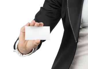 Image of businesswoman holding visit card