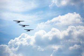 Three airplane flying