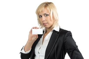 Portrait of businesswoman holding visit card