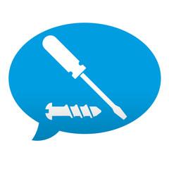 Etiqueta tipo app azul comentario destornillador y tornillo