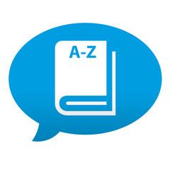 Etiqueta tipo app azul comentario simbolo diccionario