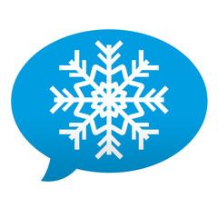 Etiqueta tipo app azul comentario simbolo frio