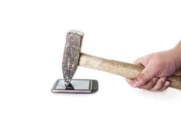 Zerstörung eines Mobiltelefons