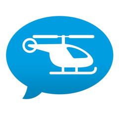 Etiqueta tipo app azul comentario simbolo helicoptero