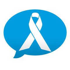 Etiqueta tipo app azul comentario simbolo lazo solidario