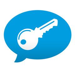 Etiqueta tipo app azul comentario simbolo llave