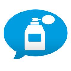 Etiqueta tipo app azul comentario simbolo perfume