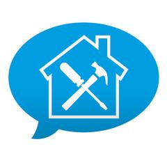 Etiqueta tipo app azul comentario simbolo trabajos domesticos