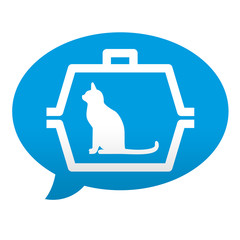 Etiqueta tipo app azul comentario simbolo transporte de gatos