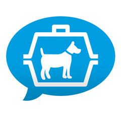 Etiqueta tipo app azul comentario simbolo transporte de perros