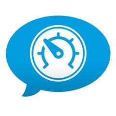 Etiqueta tipo app azul comentario simbolo velocimetro