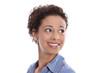 canvas print picture - Glückliche lachende junge Frau blickt seitswärts freigestellt