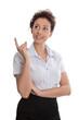 Business Frau isoliert zeigt mit dem Zeigefinger auf ein Angebot