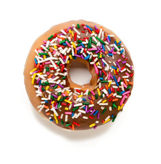 Chocolate Donut with Sprinkles on White