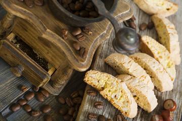 Coffee grinder and Italian cookies.