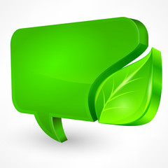 Speech green bubble with leaf on white, vector illustration