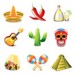 Mexican culture icons vector set