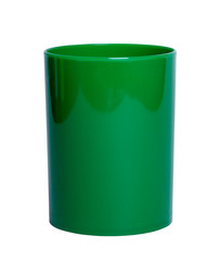 Green shiny Plastic cup for pencil - Stock Image