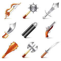 Old weapons for games icons vector set