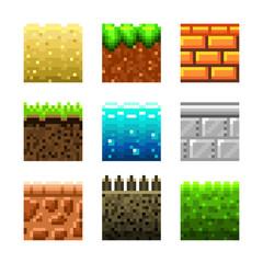 Textures for platformers pixel art vector set
