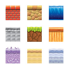 Textures for platformers icons vector set