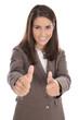 Erfolgreiche Karriere Frau isoliert mit Daumen hoch