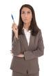 Nachdenkliche Geschäftsfrau isoliert mit Präsentation Konzept