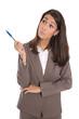 Isolierte Business Frau mit ernstem Blick zur Seite