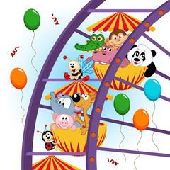 animals on ferris wheel - vector illustration, eps