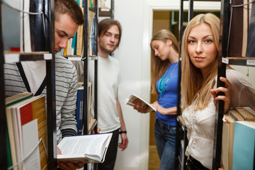 Group of student in the library