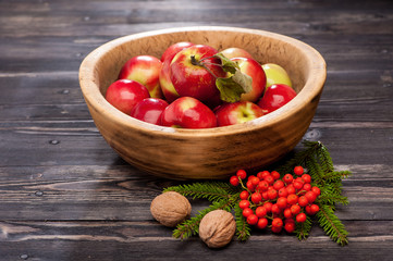 Red apples in a wooden bowl. Autumn composition.