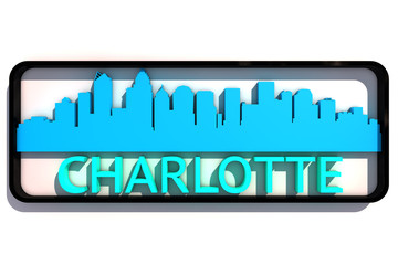 Charlotte USA base colors of the flag of the city 3D design