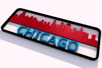 Chicago USA base colors of the flag of the city 3D design
