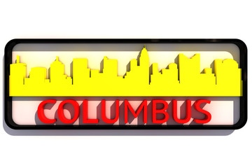 Columbus base USA colors of the flag of the city 3D design