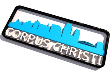 Corpus Christi USA base colors of the flag of the city 3D design
