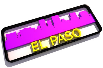 El Paso USA base colors of the flag of the city 3D design