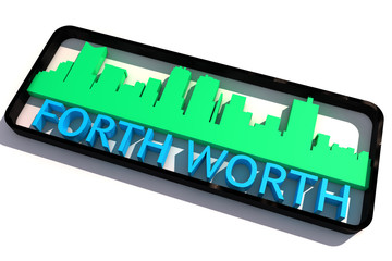 Forth Worth USA base colors of the flag of the city 3D design