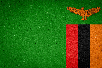 Zambia flag on paper background