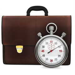 3d briefcase and stopwatch
